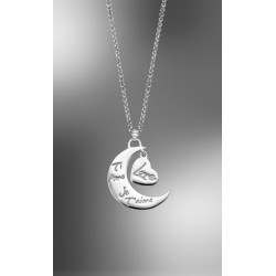 "COLLAR LOTUS PLATA DE LEY, LUNA CON  CORAZON  ""T´AMO"" ""LOVE""  LP1645-1/1"