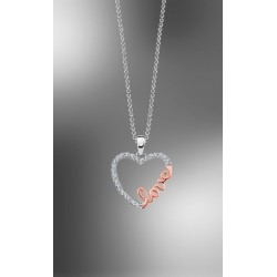 "COLLAR LOTUS PLATA DE LEY CORAZON CON CIRCONITAS ""LOVE""  LP1595-1/2"