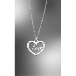 "COLLAR LOTUS PLATA DE LEY CORAZON CON CIRCONITAS ""LOVE""  LP1646-1/2"